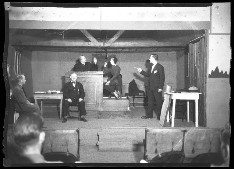 Actors performing an unknown play at a Civilian Conservation Corps (CCC) camp