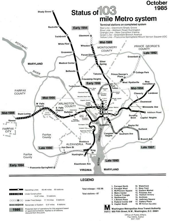 Status of 103 Mile Metro System