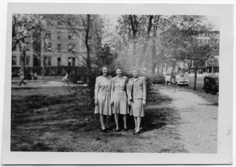 Group portrait of Mary Elsie Fox, Edna Earle Whitt, and Mary Sevcik in a park
