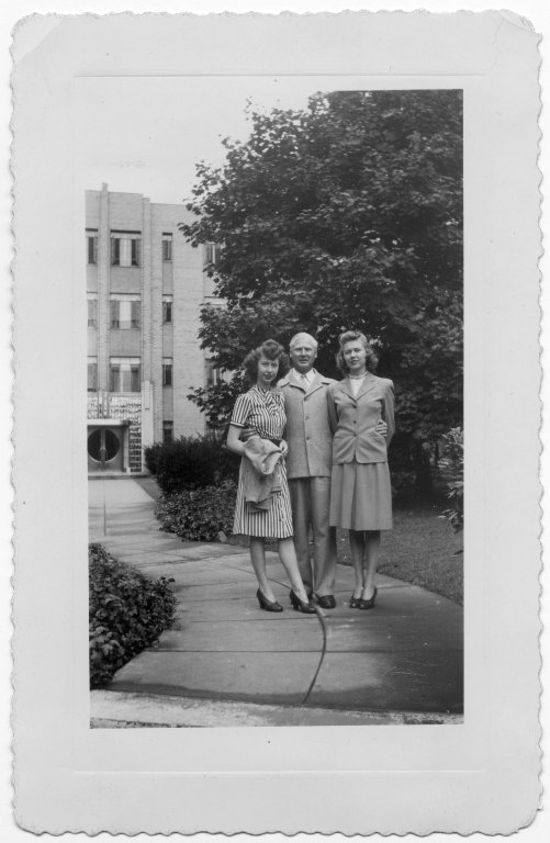 Group portrait with Ann Sevcik O'Connel, Mary Sevcik and unidentified man