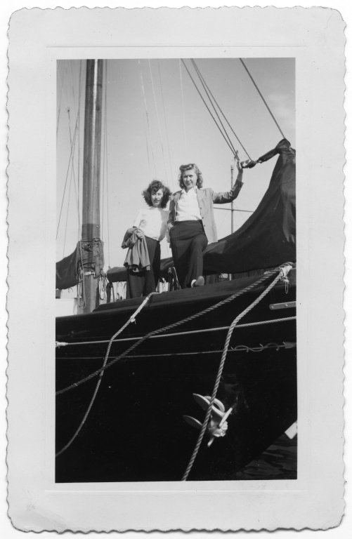 Ann Sevcik O'Connel and Mary Sevcik standing on a boat