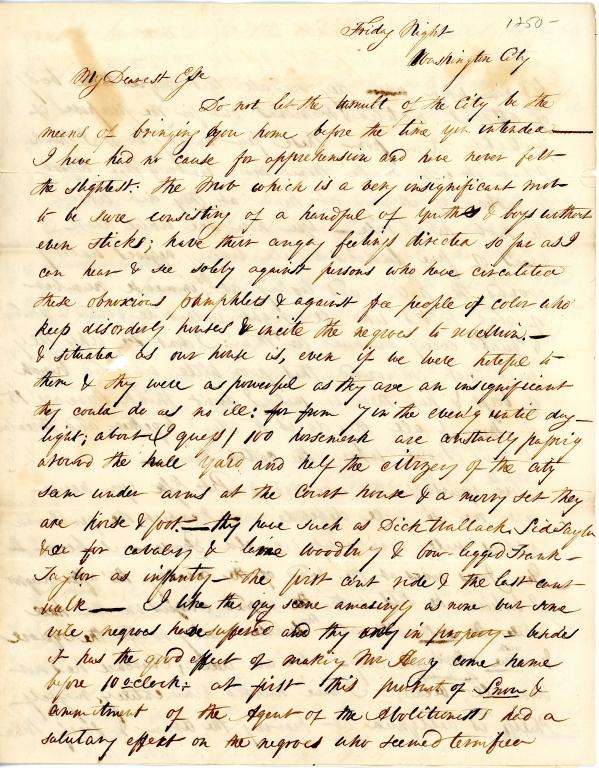 Mary Elizabeth Fendall letter 1
