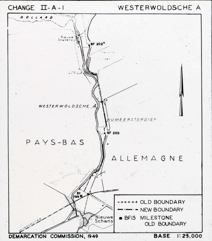 """Westerwoldche"" Westerwolde, Netherlands - ""Demarcation Commission, 1949"" map"