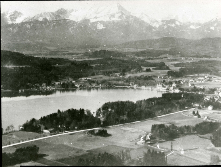 Velden am Worthersee, Carinthia with view of Karawanks mountains, Austria
