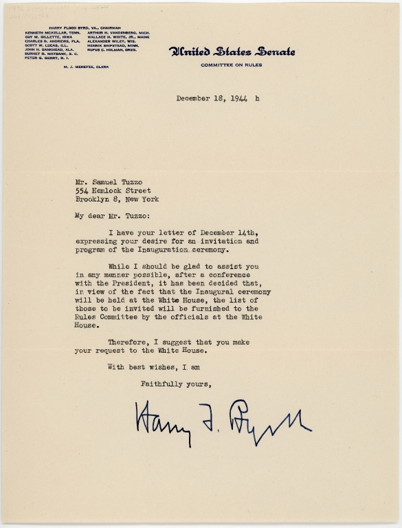 Letter from Harry F. Byrd to Samuel Tuzzo