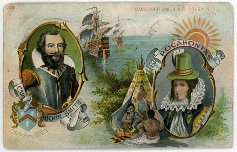 Postcard featuring Pocahontas and John Smith