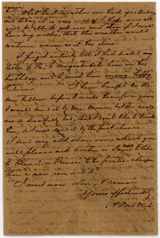 Letter from unidentified Confederate soldier to his mother