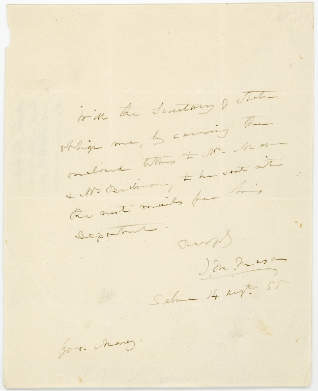 Letter from Senator James M. Mason likely to U.S. Secretary of State William Marcy