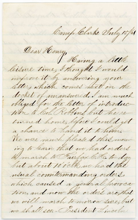 Letter from Corporal Francis Ronien to his brother Henry