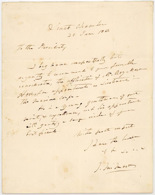 Letter from Senator James M. Mason to U.S. President James Buchanan