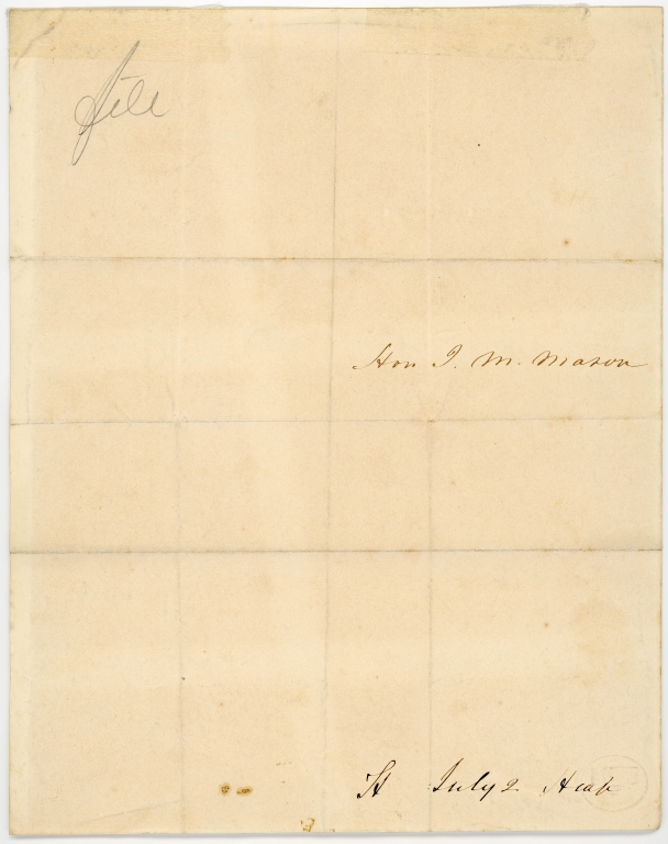 Letter from Senator James M. Mason to U.S. President James Buchanan
