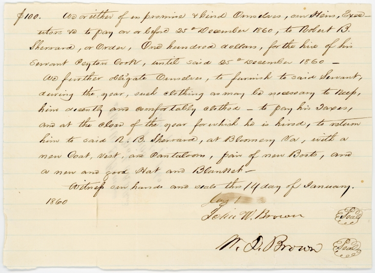 Contract transferring temporary service of indentured servant Peyton Cook