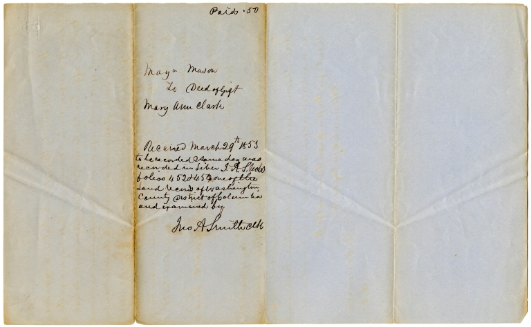 Deed of gift for an enslaved woman by Maynadier Mason