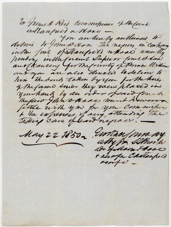 Letter to James H. Reid regarding the enslavement of a group of African Americans