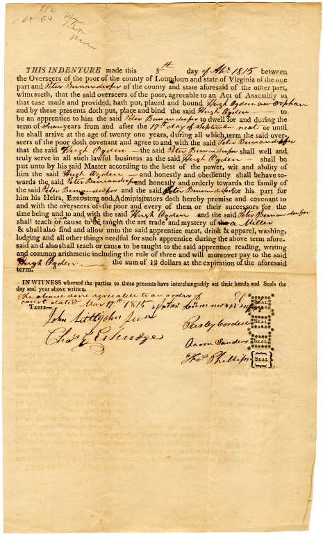Indenture for a miller apprenticeship for Hugh Ogden in Loudoun County, Virginia