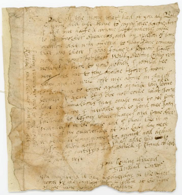 Letter from Edmund Carew