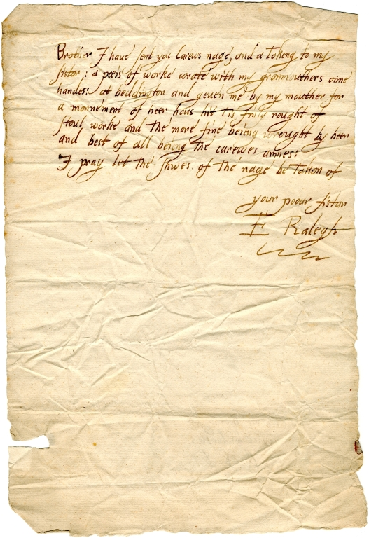 "Letter from Elizabeth ""Bess"" Raleigh nee Throckmorton to her brother Nicholas Carew"