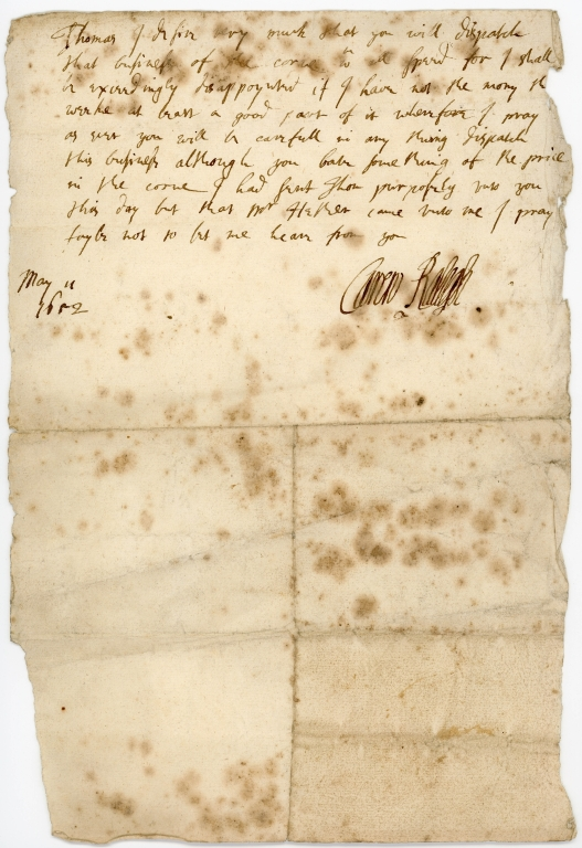 Letter from Carew Raleigh