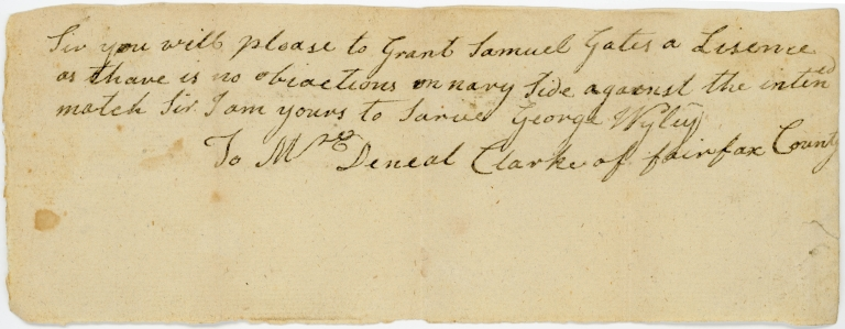 Note from George Wyley to Daniel Clarke