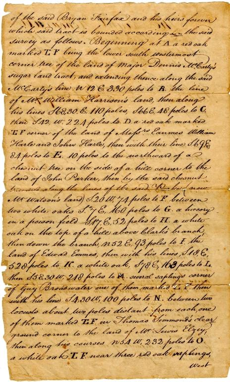 Lord Thomas Fairfax land survey
