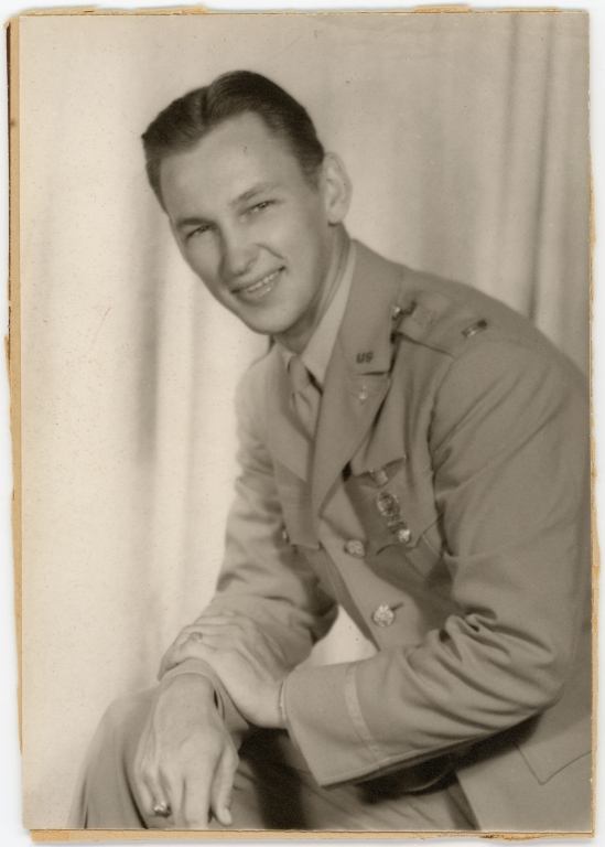 Portrait of Daniel Monson in U.S. Army Air Corps uniform.