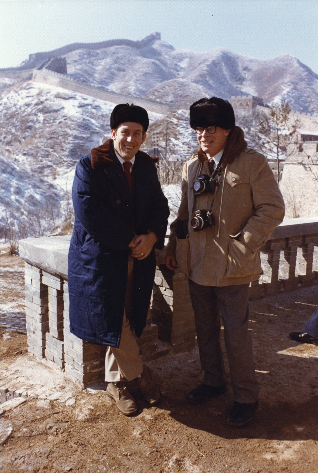 Oliver Atkins poses with Ron Walker in front of the Great Wall of China