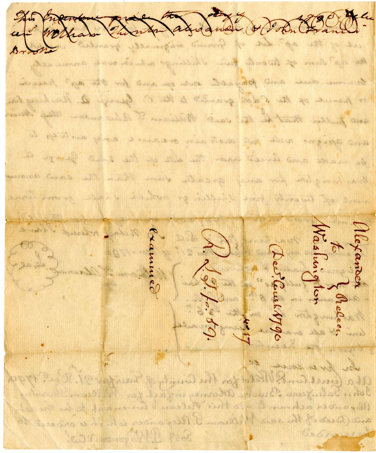 Rent of land document from William T. Alexander to George A. Washington
